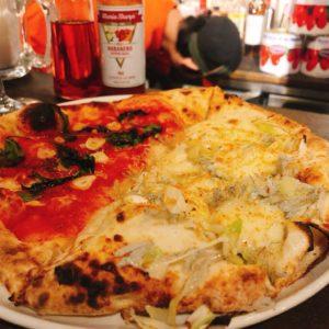 シラス、ネギ、カラスミのピザ