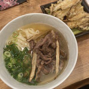 和牛を使った肉うどん+ゴボ天
